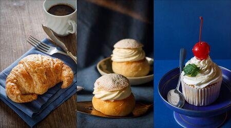 vanilla cupcake: Assorted sweet bakery: french croissants, vanilla cupcake and swedish bun with cream. Stock Photo