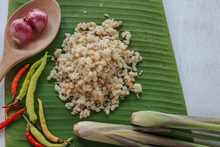 subterranean: subterranean ant egg put on banana leaf with herb ingredient for cook Esan food, Lao food (local food) Stock Photo