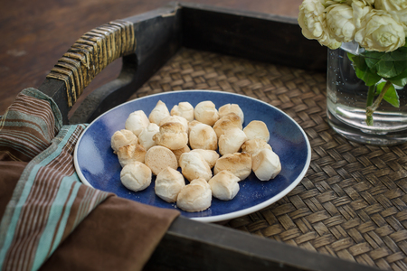 local festivals: Thai sweetmeat made of flour, egg and sugar, in Thai name called Khanom Ping