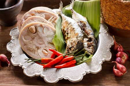Authentic local food of Asian. Various ingredient for cook Esan food, image dark tone and soft focus Stock Photo