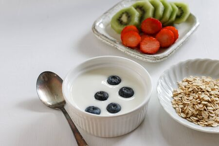 Healthy breakfast with yogurt and berries.