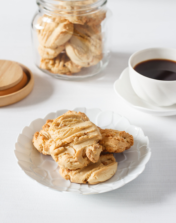Homemade cookies with black coffee.