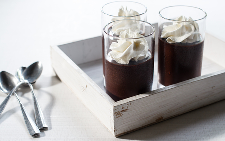 chocolate pudding with whipping cream.