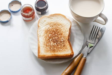 sliced toast bread with milk in the morning.