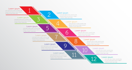 Vector infographic templates used for detailed reports. All 12 topics.