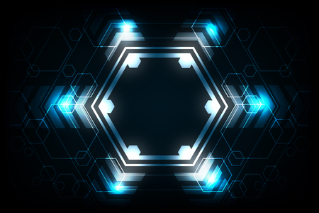 Vector geometry in a technology concept on a dark blue background.