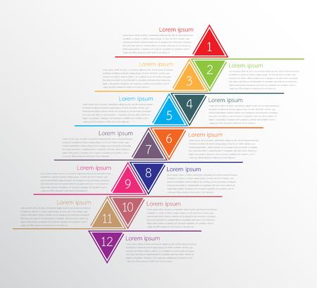A Plantillas de infografía vectorial utilizadas para informes detallados. Los 12 temas. Ilustración de vector