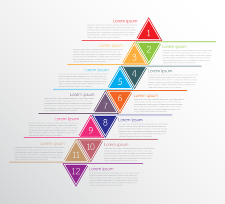 A Vector infographic templates used for detailed reports. All 12 topics. Stock Illustratie