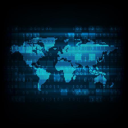 Technology digital world map.