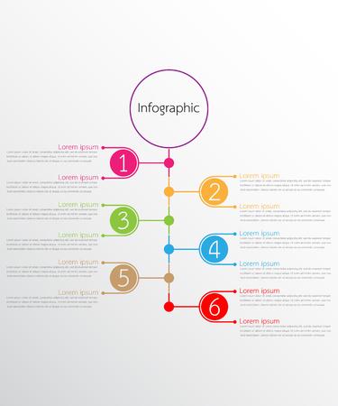 Vector infographic templates used for detailed reports. All 6 topics. Vektoros illusztráció