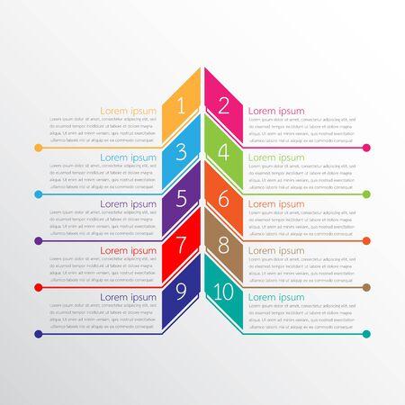 Vector infographic templates used for detailed reports. All 10 topics. Vektoros illusztráció
