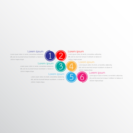 six objects: Vector infographic templates used for detailed reports. All 6 topics.