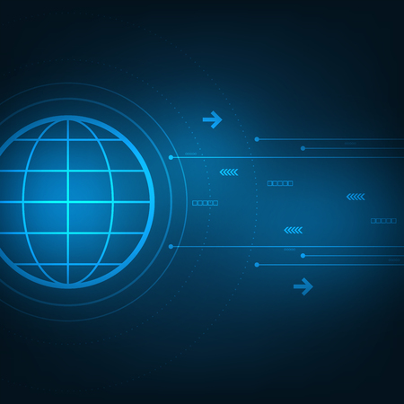 Vector in the concept of communication technology that covers the world.