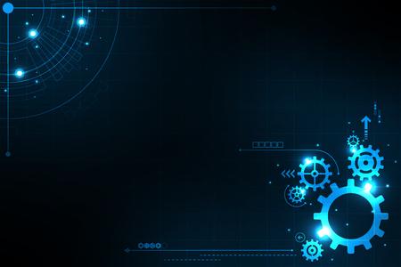 Gear in technology concept illustration on dark background.