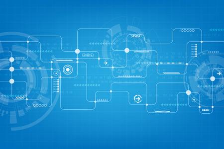 Technology in the form of electronic circuit design. Vektoros illusztráció