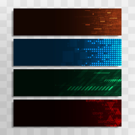 Vector banner design template in the form of a total of 4 technologies.