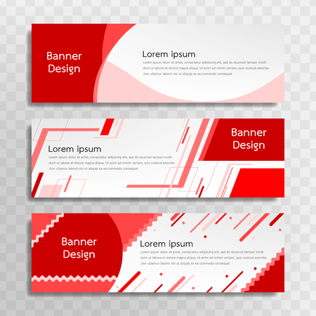 A set of red banner templates designed for the web and various headlines are available in three different designs.