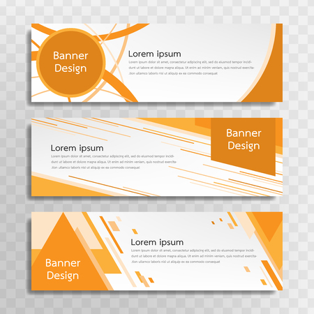 A set of yellow banner templates designed for the web and various headlines are available in three different designs.