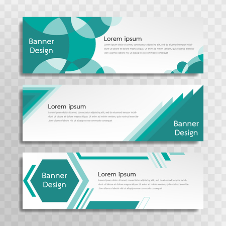 A set of green banner templates designed for the web and various headlines are available in three different designs.