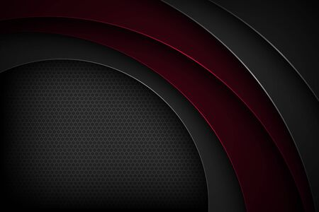 Black abstract vector background with overlapping characteristics.