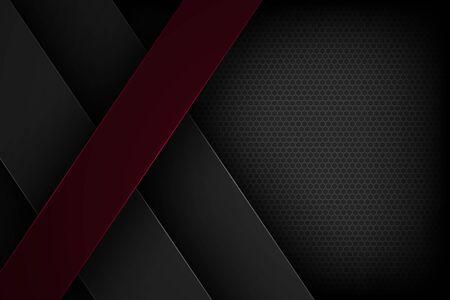 Schwarzer abstrakter Vektorhintergrund mit überlappenden Eigenschaften.