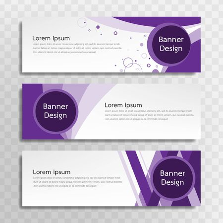 A set of purple banner templates designed for the web and various headlines are available in three different designs.