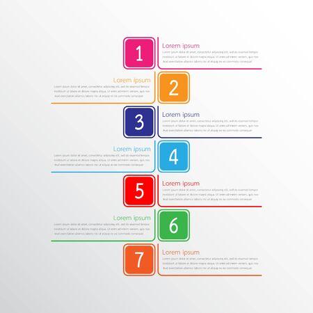 Modelli di infografica vettoriale utilizzati per report dettagliati. Tutti e 7 gli argomenti. Vettoriali