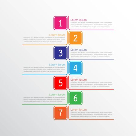 Vector infographic templates used for detailed reports. All 7 topics. Vector Illustration