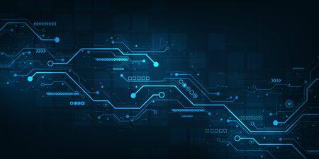 Digital circuit design on a dark blue background.