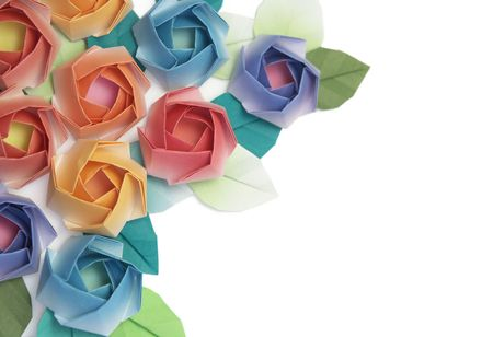 Origami roses decoration on a white background Stock Photo - 3645150