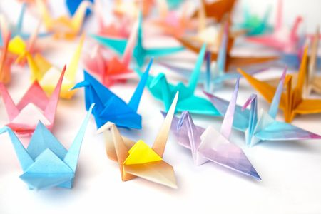 A group of origami birds