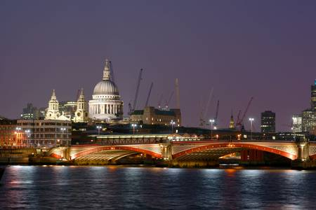 London Blackfriars Bridge with St. Paul's Cathedral on the left-hand side Stock Photo - 3880699