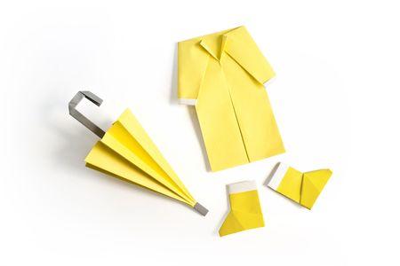 Yellow umbrella, raincoat and rainboots Stock Photo - 3880622