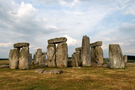 The prehistoric monument Stonehenge in the Wiltshire county of Britain