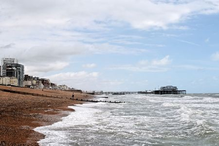 A view of Brighton Beach (Southern coast of Britain)   Stock Photo