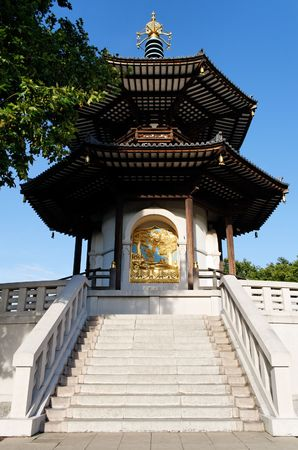 Photo of the London Peace Pagoda which was offered to the people of London to promote world harmony  Stock Photo