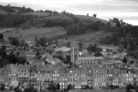 Sunset over Bath with St. Saviour's Church in the middle of the houses Stock Photo