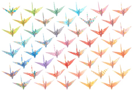 44 different paper birds isolated on a white background