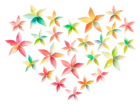 25 colorful paper flowers arranged in a heart shape, isolated on a white background