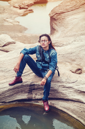 weaken: Asian women are in a relaxed mood,Vintage style image