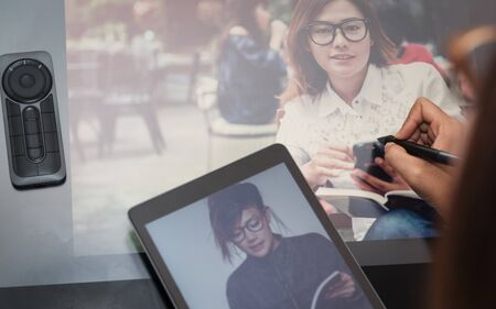 wacom: Photo asia  women are using  electronic tools,focus button on hand