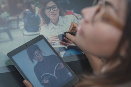 wacom: Photo of asia  women are using  electronic tools,focus on hand