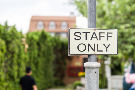 staff only sign, Focus signage Stock Photo