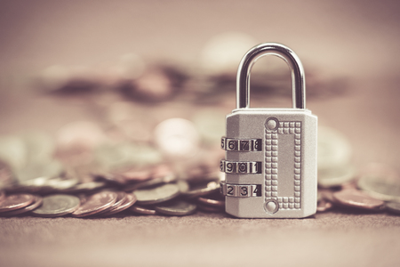 investmen: Pictures of the lock is locked with a password,Focus lock Stock Photo