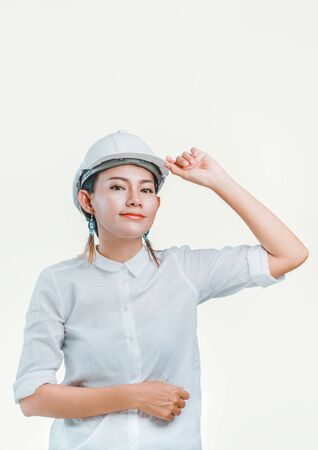 Picture of white background Asian woman is wearing safety.Focus on face