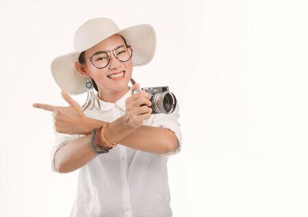 sian woman raising dance hands Joyfully On a white background.Focus on face