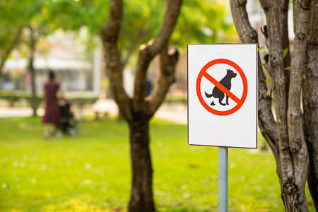 The park has a sign that prohibits dog excrement. Focus on the sign