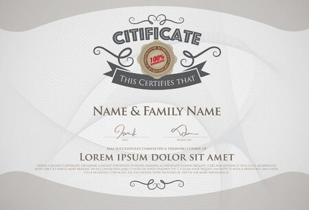 diploma: gold certificate template with additional design elements Illustration
