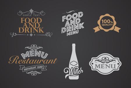 restaurant eating: Vector Vintage Typographical Element for Menu On Chalkboard.