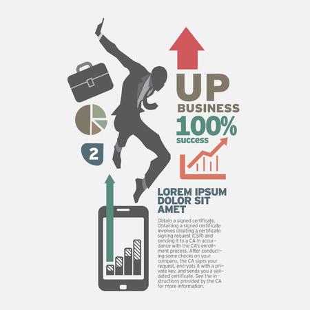 set going: Businessman going up. the concept business idea design vector set. Illustration